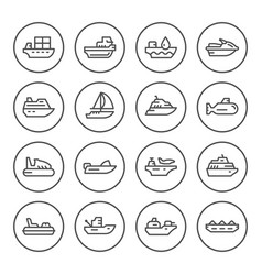 Set round line icons of water transport vector