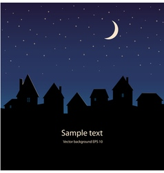 Silhouette of the city and night sky stars moon vector image