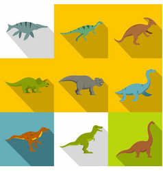 silhouettes of dinosaurs icon set flat style vector image