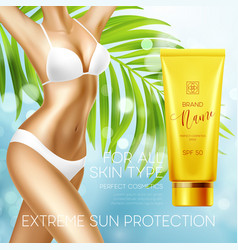 Sun protection cosmetic products design template vector