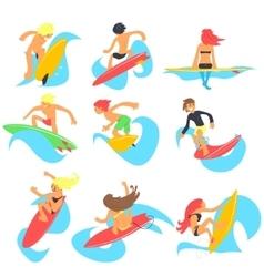 Surfing people set vector