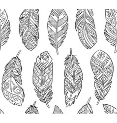 Tribal feathers in contour endless background vector