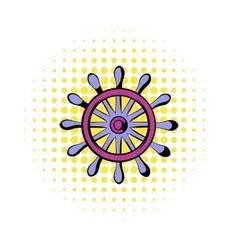 Wooden ship wheel icon comics style vector