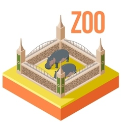 Zoo hippos isometric icon vector