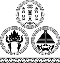 Mayan signs headdress pyramid and pattern stencils vector