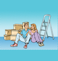 Young family moving to a new house vector