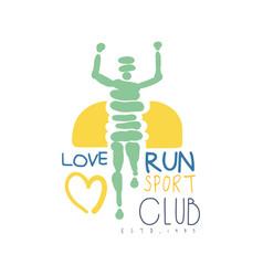Love run sport club logo symbol colorful hand vector