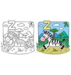 Little zebra coloring book alphabet z vector