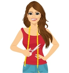 Seamstress or tailor holding a pair of scissors vector