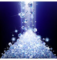 Heap of falling diamonds under blue light vector