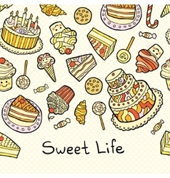 Sweet life card with cakes isolated on dotted vector