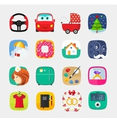 Mobile app icons set flat style web user vector