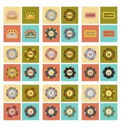 Assembly flat icons casino poker chips vector