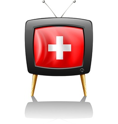 A television showing the flag of switzerland vector