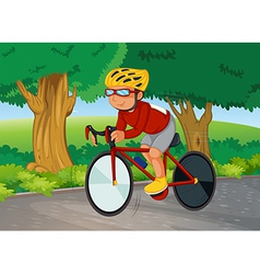 A young man biking vector image