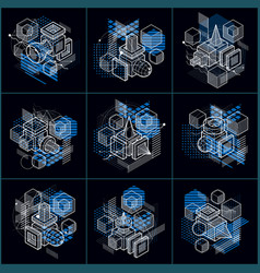 Abstract isometrics backgrounds 3d layout vector