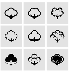black cotton icon set vector image