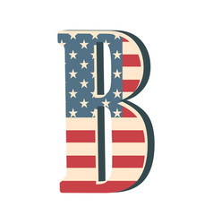 capital 3d letter b with american flag texture vector image