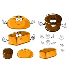 Cartoon wheat and rye brown breads characters vector