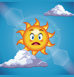 Character sun surprise cute face - cartoon in the vector