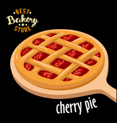 Cherry pie mesh on the board baked bread vector