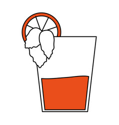 Color silhouette image glass cup of cocktail with vector