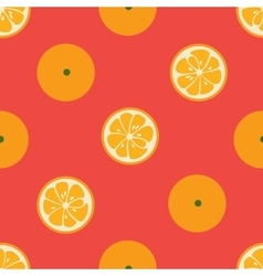 Cute seamless pattern with orange slices on red vector image vector image