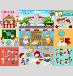 Different scenes with children at school vector