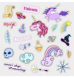 Fashion patch badges magic set stickers pins vector