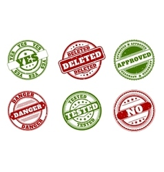 Grunge rubber stamps Approved and deleted yes no vector image
