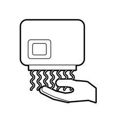 Hand dryer automatic clean equipment icon vector