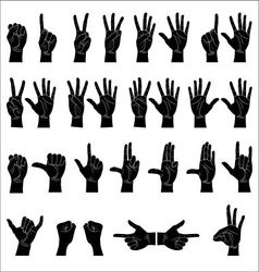 Hand silhoette collection vector image