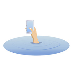 Hand with a telephone rising from the water vector