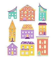 Houses set doodle color light vector