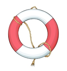 Lifebuoy and rope with dark outline vector