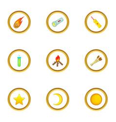 light icons set cartoon style vector image