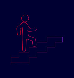 Man on stairs going up line icon with vector