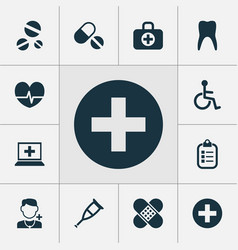 medicine icons set collection of pills cure vector image