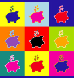 Piggy bank sign with the currencies pop vector