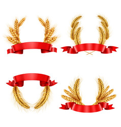 realistic spikelet wreaths with ribbons vector image