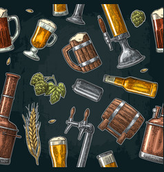 Seamless pattern beer tap class can bottle and vector