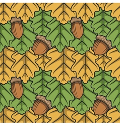 Seamless pattern with leaves and acorns vector