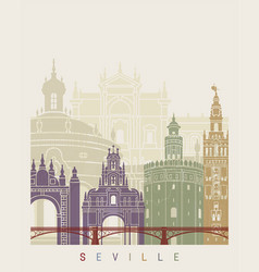 seville v2 skyline poster vector image vector image