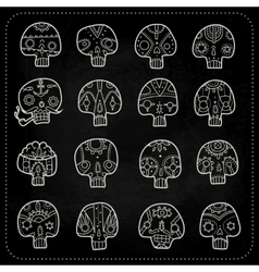 Skulls chalk set vector