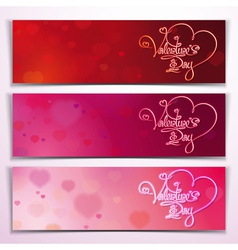 Three valentine banners red pink vector