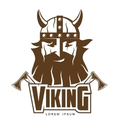 Viking head with a beard and axes vector image