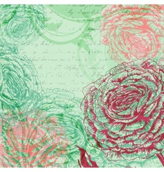 Vintage background with rose flowers vector image