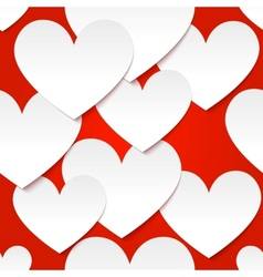 White paper hearts at red background vector image vector image