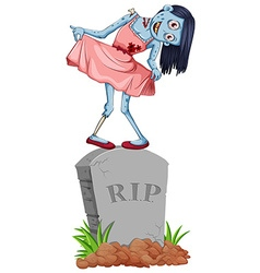 Zombie standing on gravestone vector
