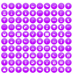 100 childrens parties icons set purple vector image vector image